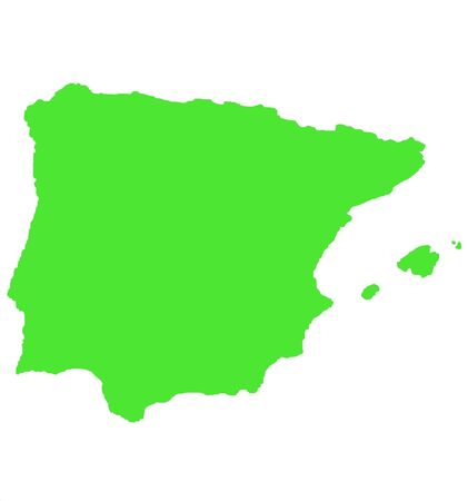 iberian: Outline map of Spain and Balearic islands isolated on white background. Stock Photo