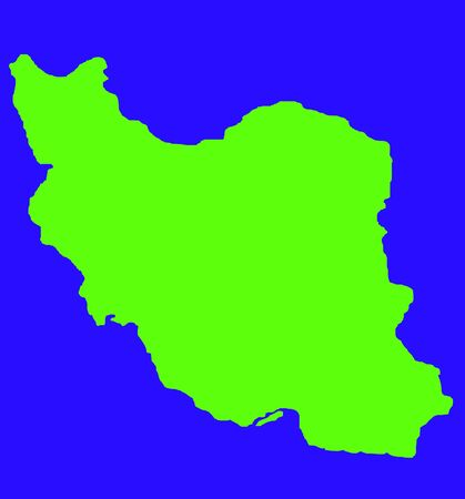 persia: Green outline map of Iran isolated on blue background with path.
