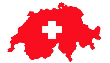 swiss flag: Switzerland map and flag isolated on white background with path. Stock Photo