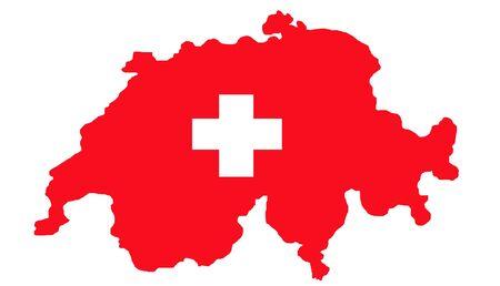 zwitserland vlag: Zwitserland kaart en vlag geïsoleerd op een witte achtergrond met pad. Stockfoto