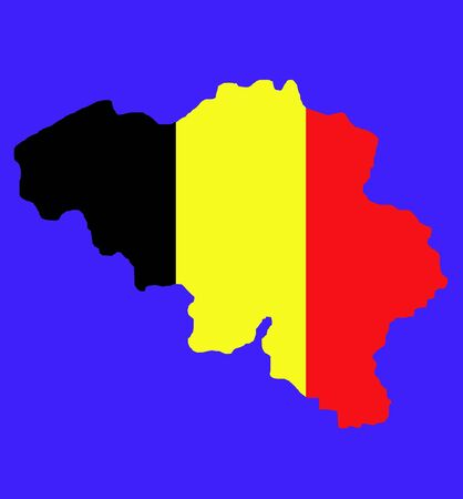 Belgium map with national flag colors isolated on blue background with path. photo