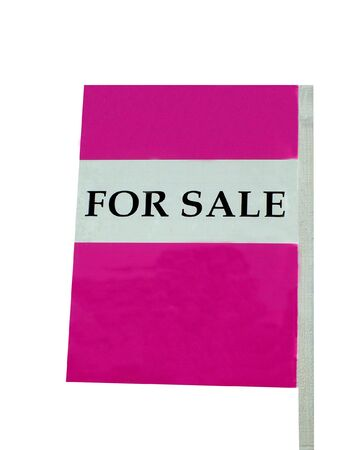 noticeable: For sale sign on pink, isolated on white background.
