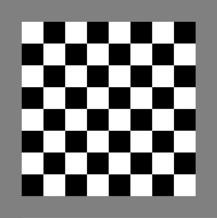 checkers: Black and white chess or draughts board isolated on gray background.