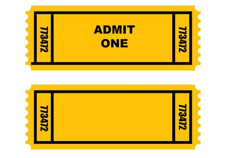 Illustration of two cinema or movie tickets, front and back, isolated on white background. Stock Illustration - 4823614