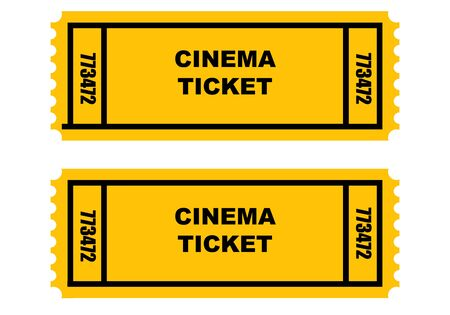 Illustration of two cinema or movie tickets, front and back, isolated on white background. Stock Illustration - 4823615