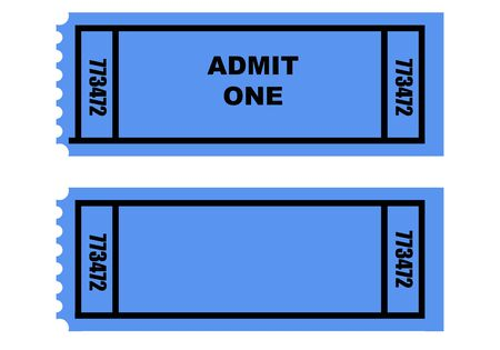 Illustration of two cinema or movie tickets, front and back, isolated on white background. illustration