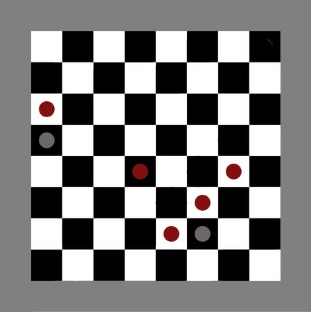 moves: Illustration of checkers board game showing eng game with red team winning, isolated on gray background.