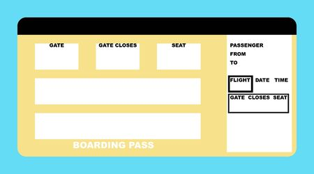 Illustration of blank airline boarding pass ticket, isolated on white background. illustration