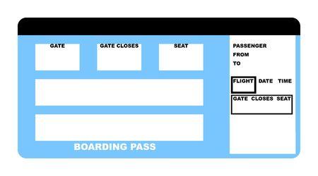 boarding card: Illustrazione della compagnia aerea in bianco biglietto d'imbarco, isolata su sfondo bianco.