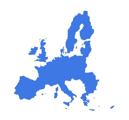 Outline map of countries of European Economic Union, in blue, isolated on white background. Stock Photo - 4902835