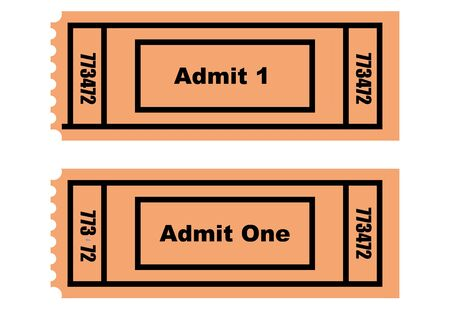 Illustration of two tickets, front and back, isolated on white background. illustration