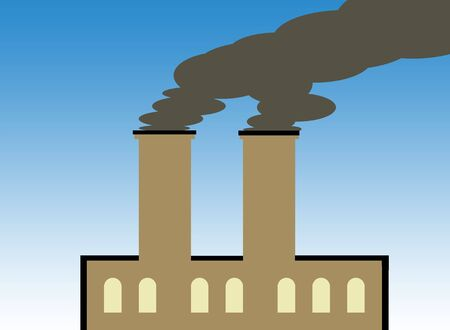 Illustration of factory building polluting atmosphere with dark smoke. illustration