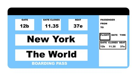 fare: Illustration of airline boarding pass ticket saying New York to the World, isolated on white background.