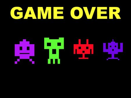 invaders: Space invaders with game over, isolated on black background.