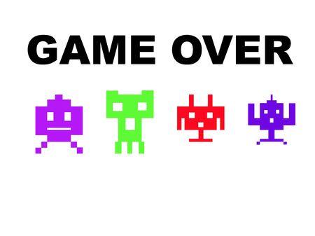 invaders: Espacio de juego con m�s de invasores, aisladas sobre fondo blanco. Foto de archivo