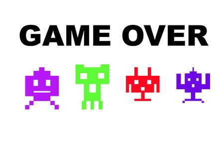 Space invaders with game over, isolated on white background. Stock Photo