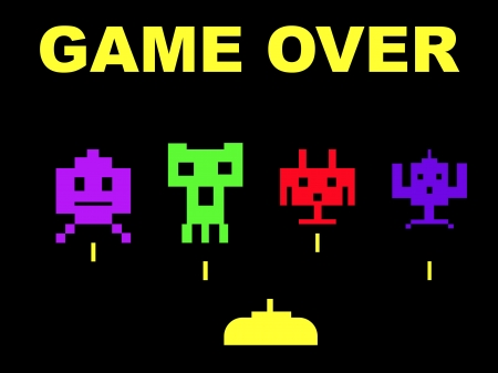 Space invaders with game over, isolated on black background. photo