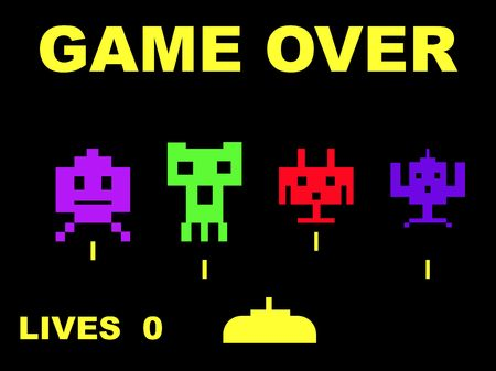 computer game: Space invaders with game over, isolated on black background.