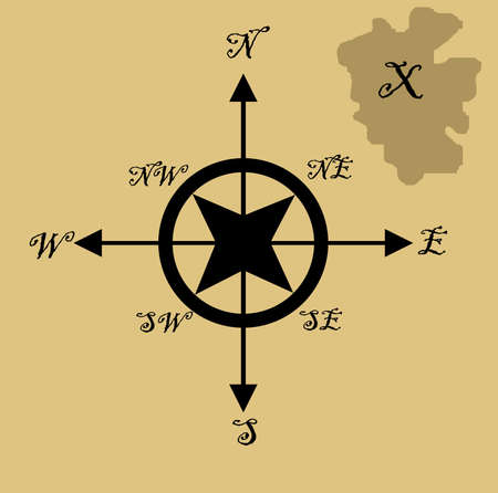 Illustration of treasure map with x marking spot and nautical compass, isolated on brown background. illustration