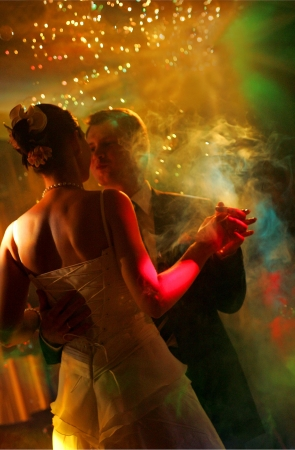 Newlywed couple dancing at their wedding reception. Stock Photo