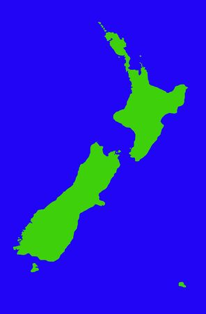 zealand: Outline map of New Zealand in green, isolated on blue background.