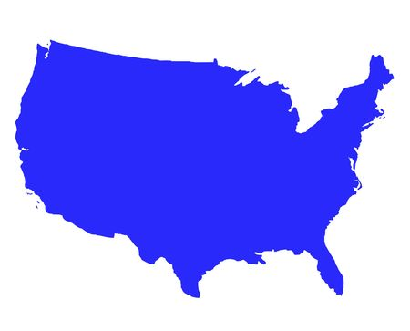 United States of America outline map in blue, isolated on white background.