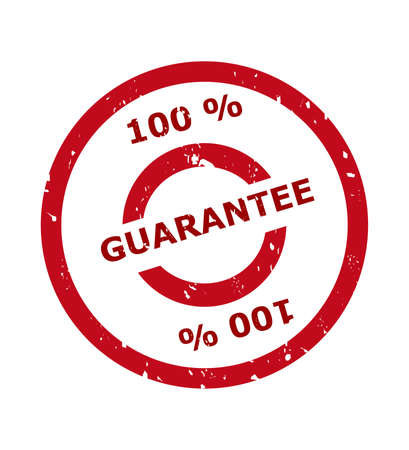 aftersales: 100 percent guarantee stamp in red circle, isolated on white background.
