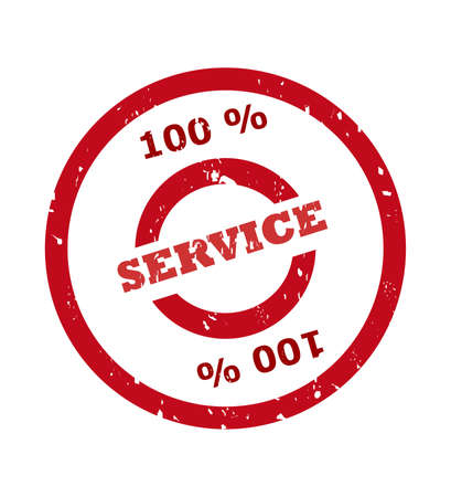 aftersales: 100 percent service stamp in red circle, isolated on white background.