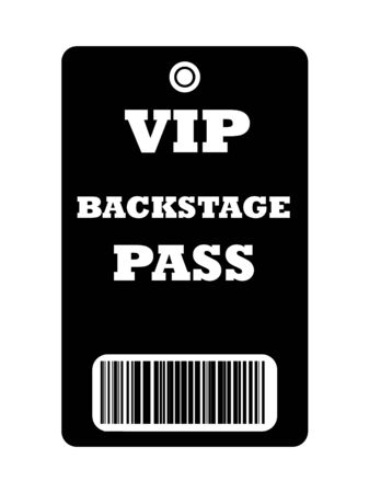 Black VIP backstage pass with bar code, isolated on white background. Stock Photo