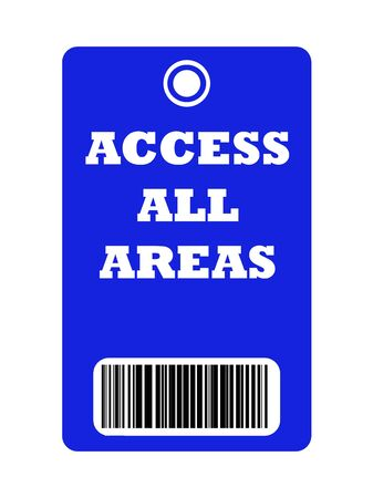 backstage: Access all areas blue pass with bar code, isolated on white background.