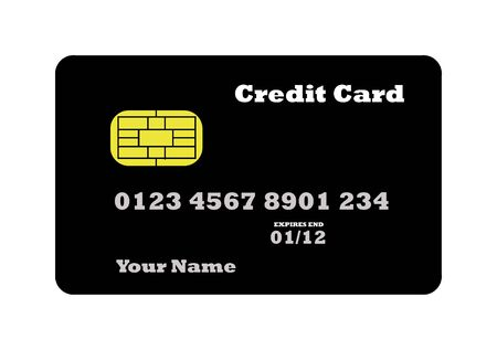 Credit Card in black with biometric strip, isolated on white background. Stock Photo - 4984794