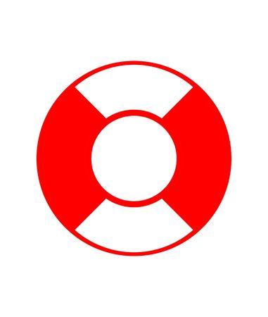 floatation: Red lifebuoy isolated on white background. Stock Photo