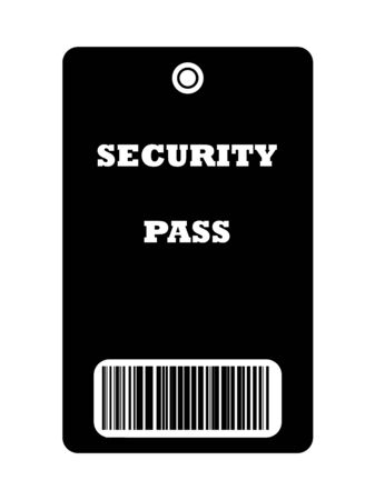 Black security pass with bar code, isolated on white background. photo