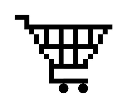 Black shopping cart button icon, isolated on white background. photo