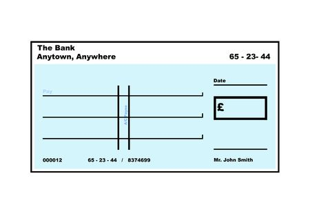 Blank English Cheque illustration with copy space, isolated on white background.