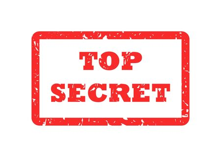 stamped: Top secret red stamp, isolated on white background.