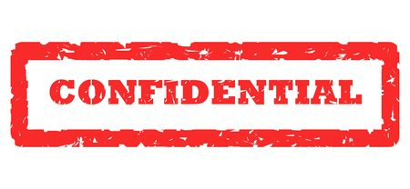 Red confidential stamp, isolated on white background. photo