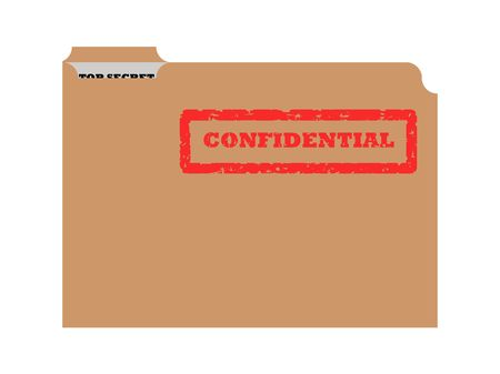confidentiality: Opened brown envelope with confidential stamp and top secret document showing. Stock Photo