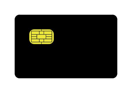lending: Blank black credit card with gold EMV strip, isolated on white background.