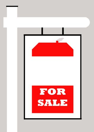 For sale sign with house, isolated on gray background. photo