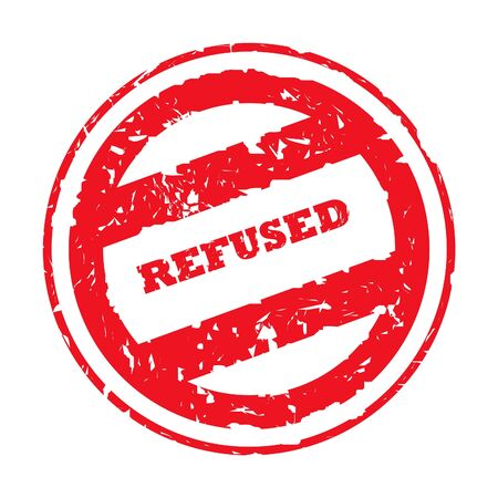 refused: Used refused red stamp, isolated on white background.