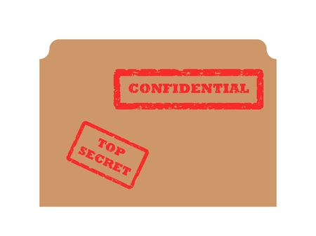 Red secret and confidential stamp on brown envelope, isolated on white background. photo