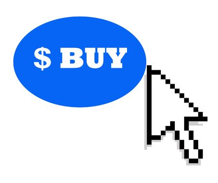 ebuy: Black mouse cursor pointing towards blue dollar buy button, isolated on white background.