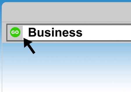 browser business: World Wide Web browser background with cursor arrow and word business.