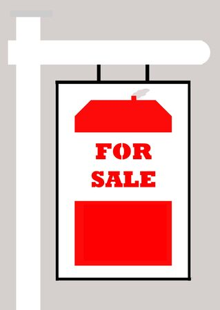 homely: For sale sign with house, isolated on gray background. Stock Photo