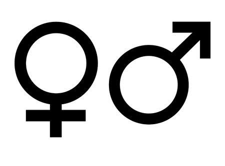 Simboli di genere maschile e femminile, isolato su sfondo bianco.