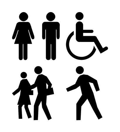 man vrouw symbool: Silhouetten van mensen op de meest gebruikte pictogrammen.  Stockfoto
