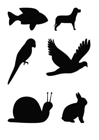 Set of animal silhouettes, fish, flying bird, parrot, snail, dog, and rabbit. photo