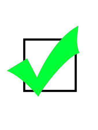 marking up: Marca de verificaci�n verde o marque en el cuadro en blanco, aislados sobre fondo blanco.
