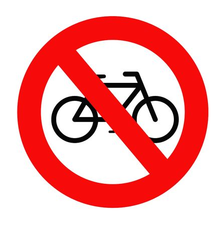 No cycling sign isolated on white background. Stock Photo - 5164065
